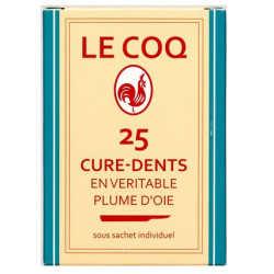 le coq 25 cure-dents plume d'oie