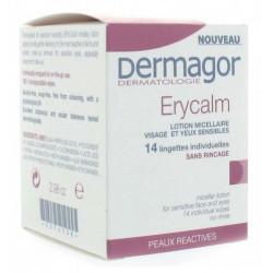 Dermagor Erycalm 14 Lingettes Individuelles Lotion Micellaire Visage et Yeux Sensibles