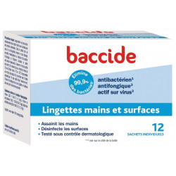 baccide 12 lingettes mains et surfaces