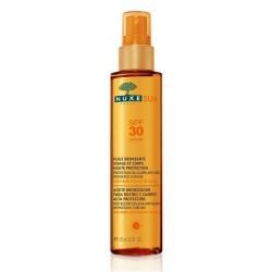 nuxe sun huile bronzante visage et corps haute protection spf 30 150 ml