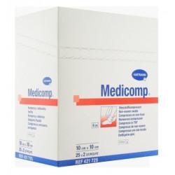 medicomp compresses stériles non tissées 10 cm x 10 cm boite de 25 sachets de 2