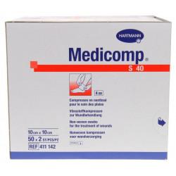 medicomp compresses stériles non tissées 10 cm x 10 cm boite de 50 sachets de 2