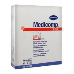 medicomp compresses stériles non tissées 7.5 cm x 7.5 cm boite de 10 sachets de 2