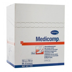 medicomp compresses stériles non tissées 7.5 cm x 7.5 cm boite de 25 sachets de 2