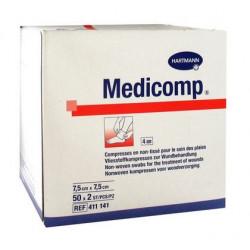 medicomp compresses stériles non tissées 7.5 cm x 7.5 cm boite de 50 sachets de 2