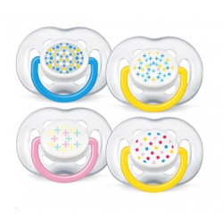 avent 2 sucettes orthodontiques silicone free flow tendance 6-18 mois
