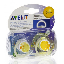 avent 2 sucettes orthodontiques silicone nuit 0-6 mois