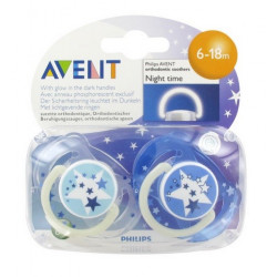 avent 2 sucettes orthodontiques silicone nuit 6-18 mois