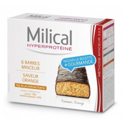 MILICAL HYPERPROTEINÉ 6 BARRES MINCEUR ORANGE
