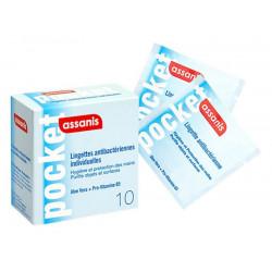 Assanis Pocket 10 Lingettes Antibactériennes Individuelles