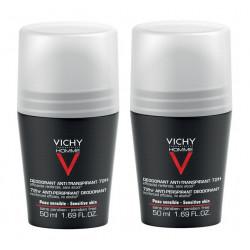 vichy homme déodorant anti-transpirant 72h 2 x 50 ml
