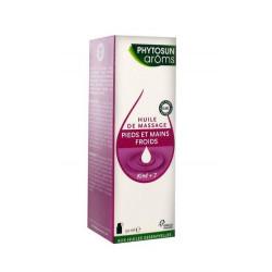 phytosun aroms kiné+ 7 huile de massage pieds et mains froids 50 ml