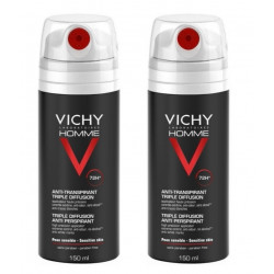Vichy Homme Déodorant Anti-Transpirant 72H Triple Diffusion 2 x 150 ml