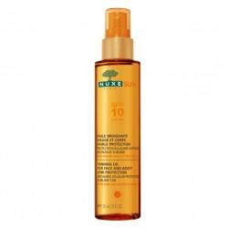 nuxe sun huile bronzante visage et corps faible protection spf10 150 ml