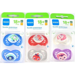 Mam 2 Sucettes Anatomiques Silicone +18 mois Animaux